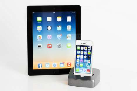 Acoustic Aluminum Mobile Docks - The Stage 5 Speaker Dock Charges Multiple Devices with Sound