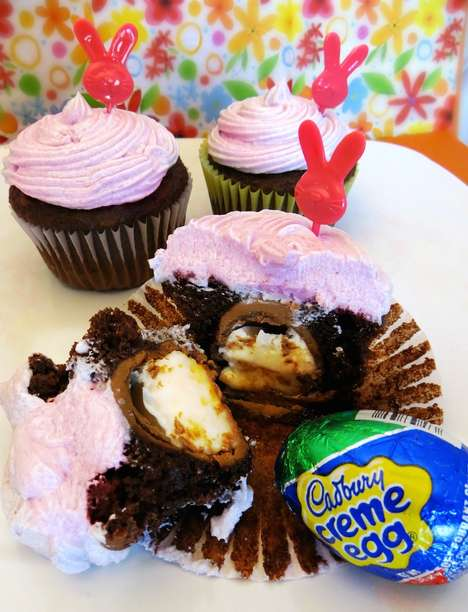 Creamy Rabbit Egg Cupcakes - These Cadbury Cream Creme Egg Cupcakes Define Easter Desserts