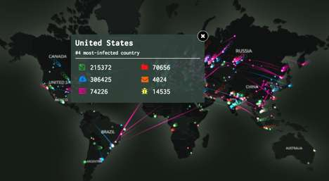 Interactive Cyber Attack Maps - The Kaspersky Labs 3D Map Shows Global Cyber Attacks in Real Time
