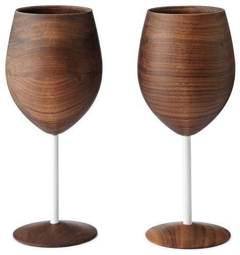 Sleek Wooden Glassware - This Wooden Wine Glass Set Gives You a Forested Feel to Your Wine Drinking