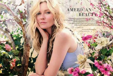 Botanically Enchanting Editorials - Kirsten Dunst Covers Harper