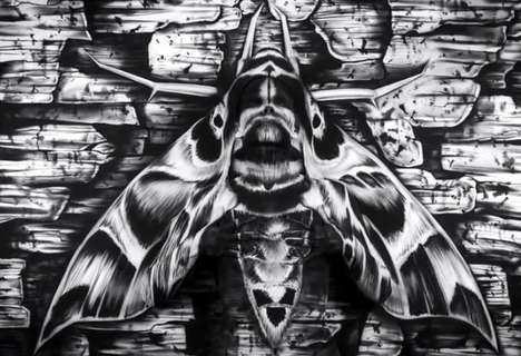 Creepy Bodypaint Illusion Videos - This Painting of a Moth Conceals a Real Body-Painted Woman