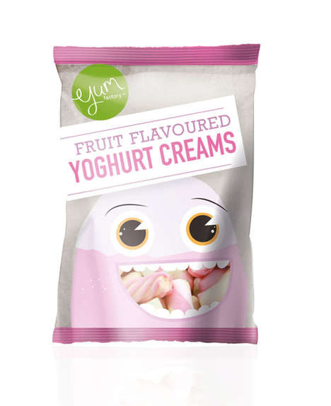 Open-Mouthed Candy Packaging - YUM Factory by Bernelle Visser Uses Quirky Characters