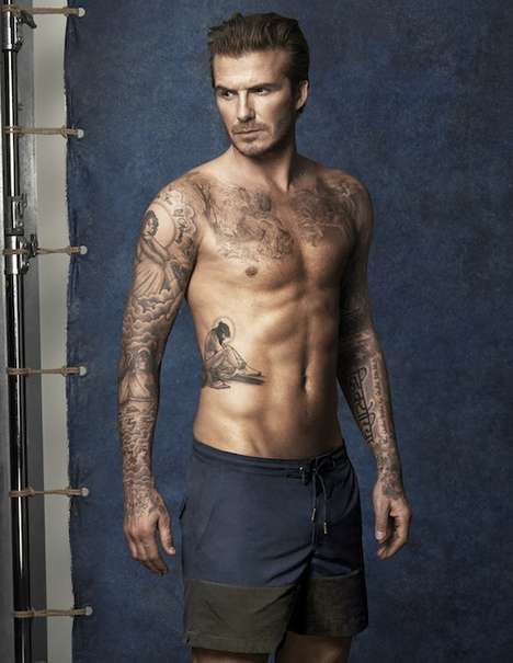Buff Athlete Trunks Ads - The David Beckham x H&M Swimwear Campaign is Full of Tattoos