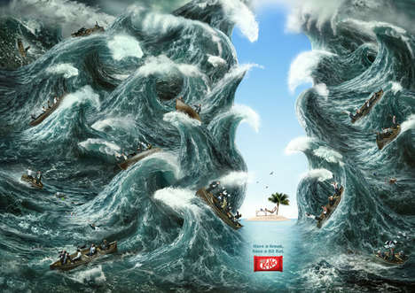 Catastrophe-Avoiding Chocolate Ads - The Kit Kat Have a Break Campaign is Reassuringly Surreal