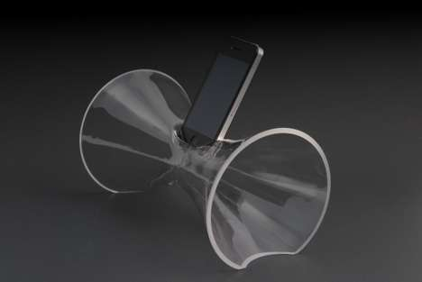 Modernist Glassblown Smartphone Amplifiers - The My Phone Amp Fills Your Room with Sound and Beauty