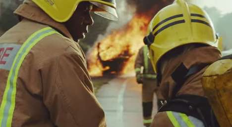 Firefighter-Featuring Telecom Ads - This Vodafone U.K. Ad Shows Real Firefighters Battling Fires