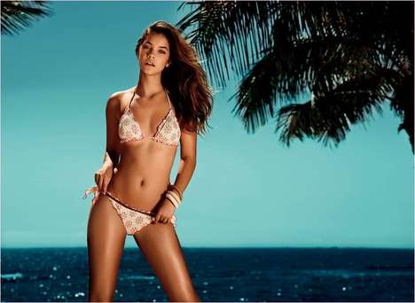 Vibrantly Feminine Swimwear - The Twin Set SS 2014 Beachwear Campaign Stars Barbara Palvin