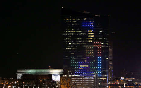 Video Game Building Facades - Drexel University Transformed into a Giant Tetris Game in Philadelphia