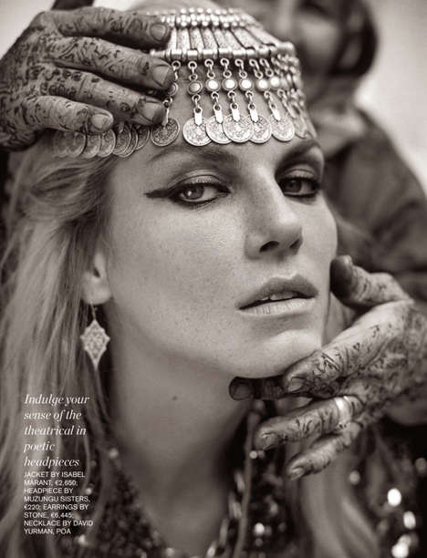 Opulent Tribal Princess Editorials - Angela Lindvall Stars in the Porter Magazine #2 Issue