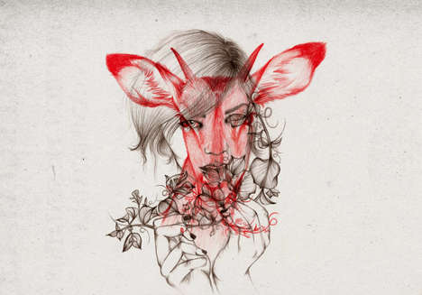 Superimposed Human-Animal Sketches - Illustrator Peony Yip Drew Women with a Wild Perspective