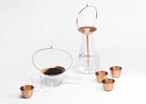 Luxurious Water Purification Sets - This Collection of Crystal and Copper Vessels is Crafty and Rich