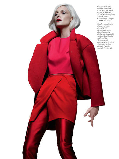 Authoritative Scarlett-Hued Editorials - Ana Claudia Michels Stars in Marie-Claire Brazil's April 20