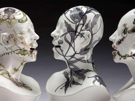 Overgrown Ceramic Busts - Viral Series by Jess Riva Cooper Represents Life and Death