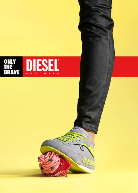 Stomping Shoe Ads - The Diesel Footwear Campaign Speaks Only to the Brave