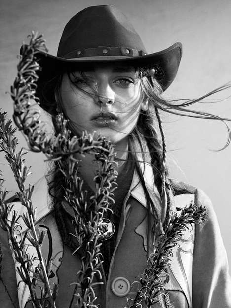 Somber Western Editorials - The QVEST Magazine Spring 2014 Photoshoot Stars Daga Ziober