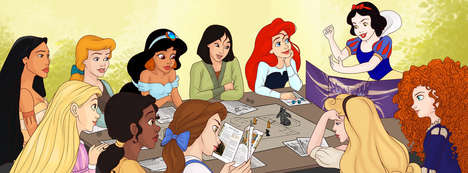 Role-Playing Disney Princesses - The Disney Princess Photo Shows the Girls Playing D&D