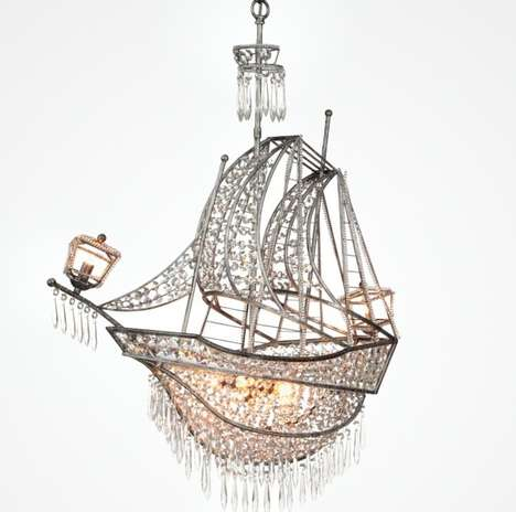 Nautical Pirate Ship Chandeliers - This Pirate Chandelier Brings a Seafaring Feel to the Home