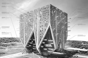 The 'Car and Shell Skyscraper' Concept Contains a Whole Neighborhood