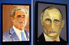 President-Painted Portraits - 'Bush's Little Paintings' is an Exhibit of Paintings of World Leaders