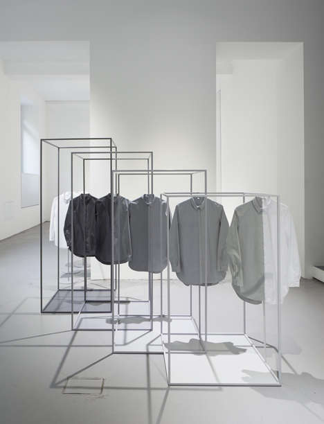 Geometric Degrade Installations - Nendo and COS Team Up to Design This Minimalist Grey Installation