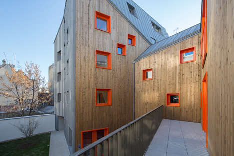 Brightly Hued Wooden Buildings - This Angular Wooden Apartment Building is Vibrant and Sleek