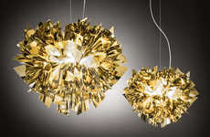 Radiant Ribbon Lamps - These Dazzlingly Luminous Lamps Are Crafted Out of Gold and Silver Ribbons