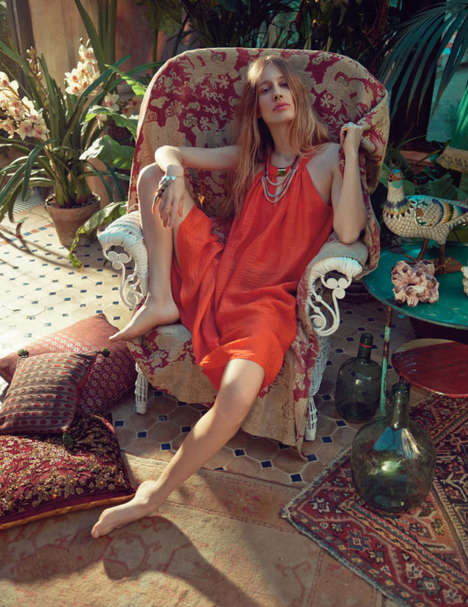 Tropical Bohemian Princess Editorials - The Vogue UK Editorial Stars Natasa Vojnovic