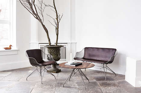 Dapper Wireframe Furnishings - This Leather Furniture Collection Boasts Metallic Framing Details