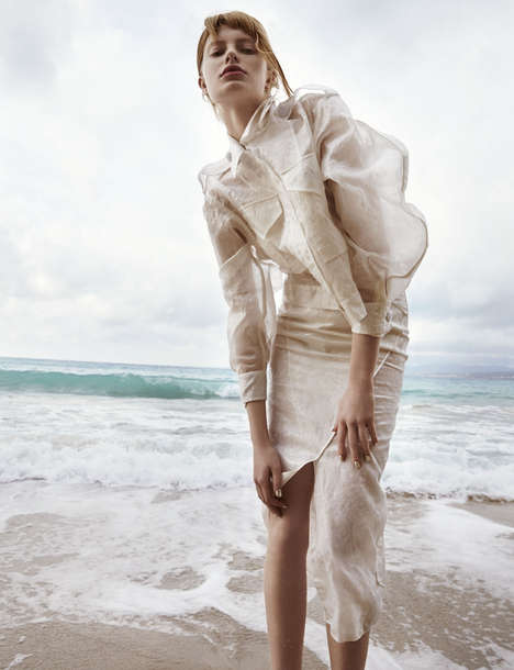 Watery Windswept Editorials - The Tank Magazine Shore Line Photoshoot is Gusty