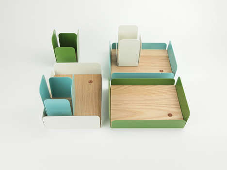 Coordinated Desk Cartons - A Desk Storage Accessory Clears Your Mind for a Brighter Day