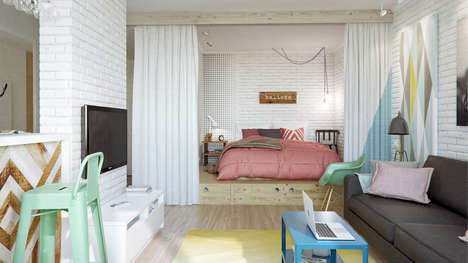 Whimsical Pastel Decor - The Compact Interior of This 45 Sq. M Apartment is Stunning
