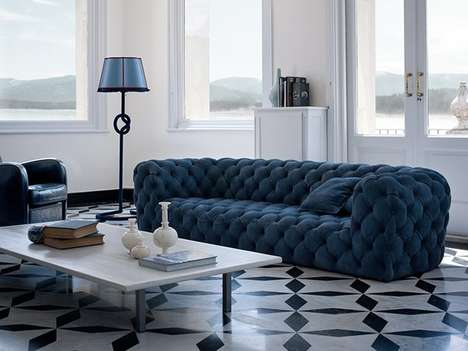 Entirely Tufted Luxe Couches - The Chester Moon Sofa by Baxter is Made with Whole Leather Hides