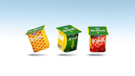 Slenderized Yogurt Cups - The New Activia Packaging Conveys Its Yogurt is a Slimming Snack