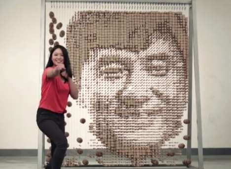 Chopstick Celebrity Portraits - This Portrait of a Celebrity is Made of Chopsticks