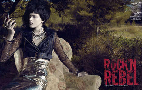 Unruly Rocker Editorials - Tess Hellfeuer Gets Rebellious for Maire Claire Italia April 2014 Issue