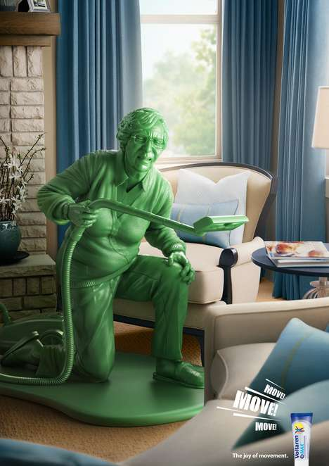 Toy Soldier-Inspired Arthritic Ads - The Voltaren Max Campaign Focuses on the Joy of Movement