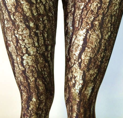 Leafy Woodland Leggings - These Leggings Come in a Whimsical Tree Bark Print