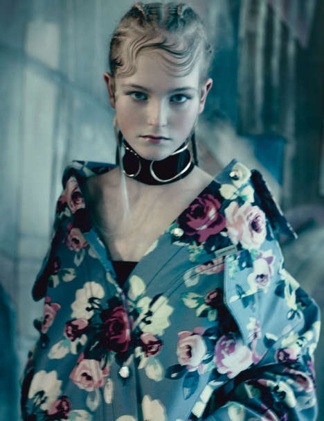 Demure Floral Fashion - This Vogue UK May 2014 Editorial is Somber and Graceful
