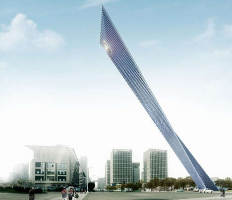 Reflective Vertical Monuments - Rafael de la-Hoz Creates a Piece for Tianjin China