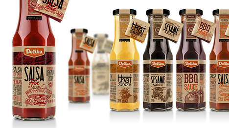 Illustrative Sauce Packaging - Delika Sauces is Recreated with Bold Typography