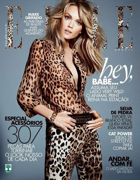 Animal Print Magazine Covers - The ELLE Brazil April 2014 Issue Stars a Wild Lindsay Ellingson