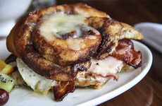 Cinnamon Bun Sandwiches - Two Cinnamon Buns Hold This Breakfast Sandwich Together
