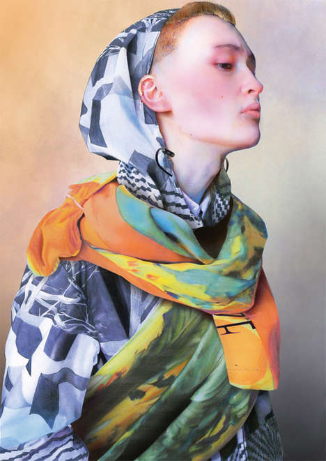 Illustrated Scarf Lookbooks - The Pierre-Louis Mascia SS14 Catalog is Full of Vibrant Patterns