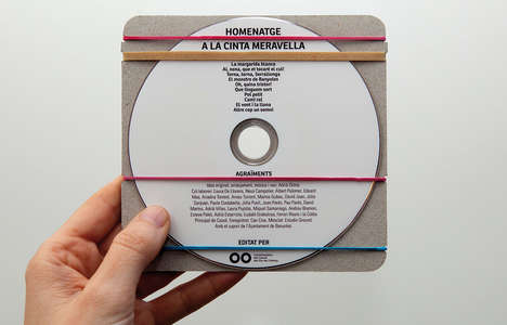 Minimal Strappy CD Cases - The Homenatge a la Cinta Meravella jewel case is Extremely Sparse