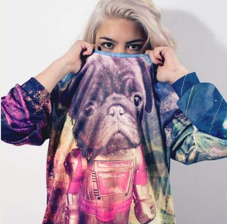 Sci-Fi Canine Sweaters - The Pugbot Crewneck Sweater by Doggy Droid is Out of This World