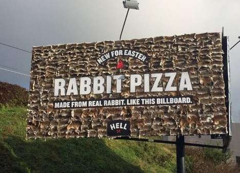 Real Dead Bunny Billboards - Hell Pizza is Advertising Easter Rabbit Pizza with Real Dead Rabbits