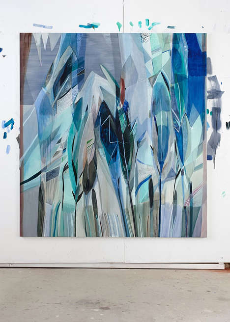 Light Blue Linen Paintings - The Emily Ferretti Oil Pieces Showcase Pale Aquatic Colors