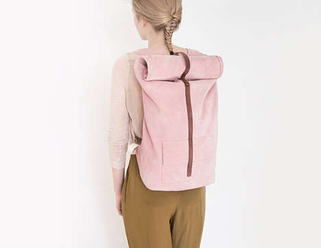 Plush Pastel Backpacks - The Mum & Co. Bags Display Shades of Pale Pink