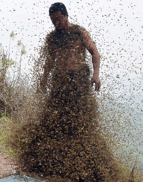 Bee Bearding Publicity Stunts - This Man Takes Bee Bearding to a Whole New Level to Sell His Honey